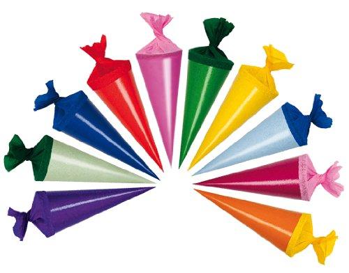 10 Stk. Schultüte 12 cm - rund - Geschenktüte klein Dekoration Zuckertüte Deko für Schulanfang Dekotüten 12cm - Pappteller Basteln Für Kinder