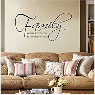 Zooarts Family Where Life Begins Quote Removable Wall Stickers Decals Vinyl Art Decor Home Living Room Bedroom Mural