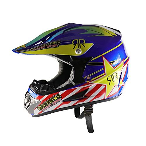 Sanqing Casco da Cross, Casco Integrale da Moto da Strada, Casco da Motociclista Sportivo Quattro Stagioni di Dirt Bike,BlueStars,M