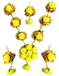 Floral Jewellery Yellow Flower Gota Patti Jewellery Set With Earrings & Maang Tika For Women