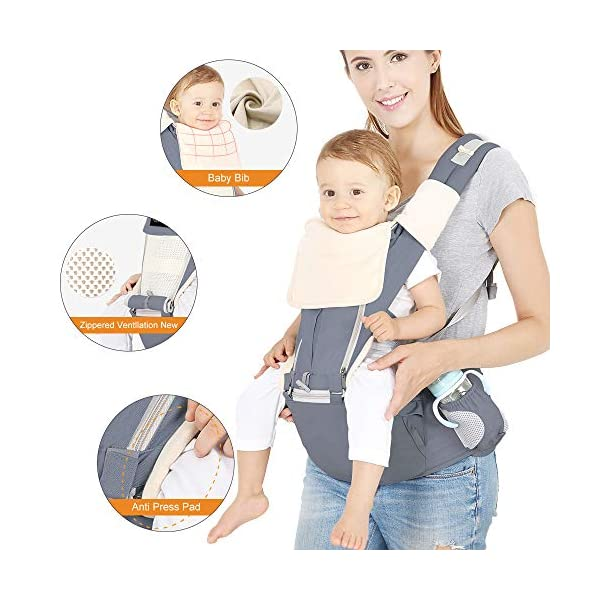 Azeekoom Baby Carrier, Ergonomic Hip Seat, Baby Carrier Sling with Fixing Strap, Bibs, Shoulder Strap, Head Hood for Newborn to Toddler from 0-36 Month (Gray) Azeekoom 【More Ergonomic】 - Baby carrier for newborn has an enlarged arc stool to better support the baby's thighs, the M design that allows the knees to be higher than the buttocks when your baby sits, is more ergonomic.The silicone granules on the stool provide a high-quality anti-slip effect that prevents the baby from slipping off the stool. 【Various Methods of Carrying】- There are 5 combinations of ergonomic baby carrier and a variety of ways to wear them.Hip Seat/Fixing Strap + Hip Seat/Shoulder Strap + Hip Seat/Strap + Hip Seat/Strap, 5 combinations to meet your needs.Fixing Strap frees your hands and prevent your baby from falling over the stool.The shoulder straps reduce the burden on your waist and make you more comfortable. 【More Comfortable】 - The baby carrier is made of high quality cotton fabric with 3D breathable mesh for comfort and coolness. The detachable sunshade provides warmth in winter and fresh in summer. The detachable cotton slobber allows you to Easy to change. At the same time, the zip closure is designed for easy removal and cleaning. 2