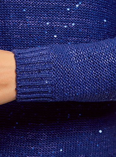 oodji Ultra Damen Gerader Pullover mit Pailletten Blau (7500X)