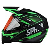 Woljay Cross Offroad Helm Motocross-Helm Fahrrad Für ATV MX Motocross Helm mit Sonnenblende Klar Grün Trupp (S)