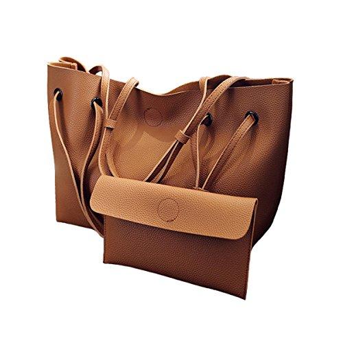Jinberry Retro Groß Schultertasche für Damen / Vintage Kunstleder Handtasche Tragetasche Shopper mit Passendem Geldbeutel Braun