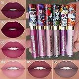 Ownest Set de 6 couleurs de rouge à lèvres, brillant à lèvres velours mat Skull Face, tenue longue durée pour le rouge à lèvres imperméable - 6pcs