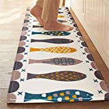 "Borlans Washable Kitchen Floor Rug Non-slip Runner Bath Mat Morden Fish Pattern Carpet Abosrbent Doormats-17.72"" By 47.24"""