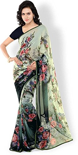 Fasherati Traditionell Indian Frauen Faux Georgette Saree mit Bluse Stück (Lace Georgette Bluse)