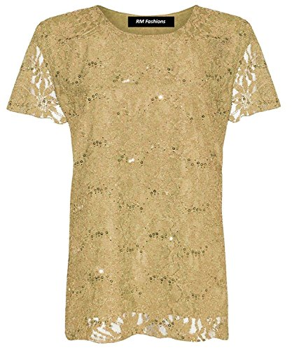 Islander Fashions Womens Floral Lace Pailletten Sparkle T Shirt Damen Kurzarm Fancy Party Top Gold Large