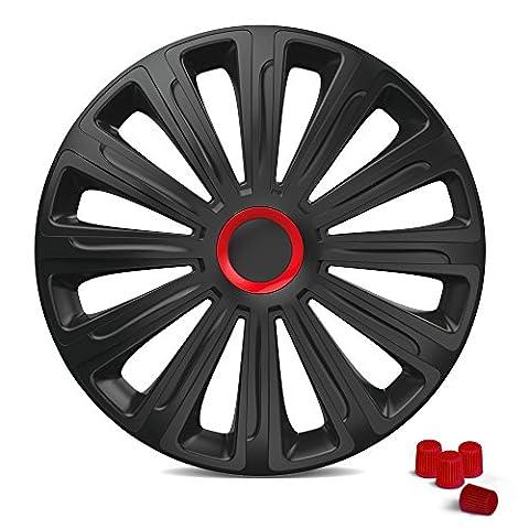 Universal Radzierblenden – TREND 16 Zoll (Schwarz/Rot). Radkappen passend für fast alle PKW inkl. 4 Ventilkappen