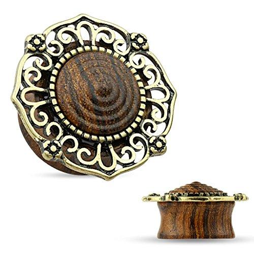 Piercing plug tribal antique en bois organique Taille: 25 mm
