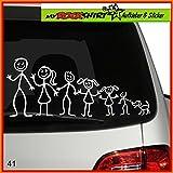 große Familie Modell 14 Aufkleber ca. 25 cm breite , Sticker-Familie Aufkleber Sticker Family breite Auto Aufkleber Autoaufkleber Familien Scheibe Lack Heckscheibe fürs Auto Familienkutsche Lustig Spass mit Montage Set inkl.