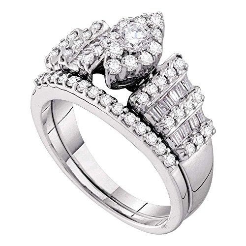 Damen-Ehering/Verlobungsring 14 kt Weißgold Diamant rund 1,00 Karat