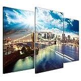 Bilderdepot24 Kunstdruck - New York - Bild auf Leinwand - 100x60 cm dreiteilig - Leinwandbilder - Bilder als Leinwanddruck - Wandbild