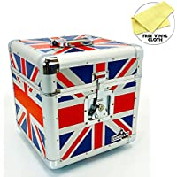 Gorilla 30,5cm LP vinyl record Storage box Flight Carry case holds 100pcs Union Jack–con garanzia a vita