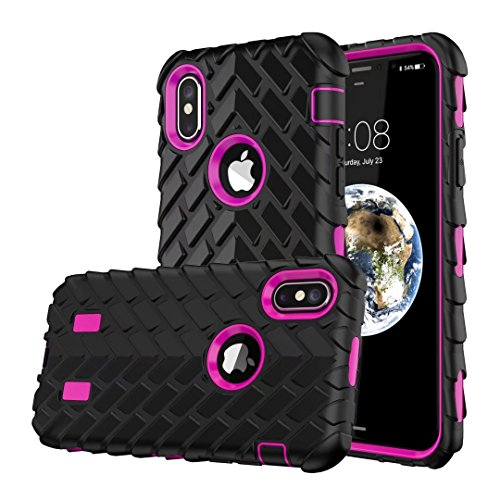 iPhone X Hülle, Lantier Dual Layer Armor Soft Rubber Hard Hybrid Tire Stripe Combo High Impact Heavy Duty Silicone Bumper Shockproof Defender Case Cover für Apple iPhone X Pink