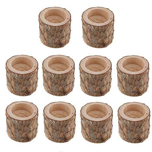 10 Stück/Set Natürlicher Baumstumpf Holz-Kerzenhalter Handarbeit Teelichthalter Kerzenständer Kerzenständer Holz Ständer für Zuhause Party Bar Kunst Dekoration Dinnerchen Hochzeit Party Party Zubehör