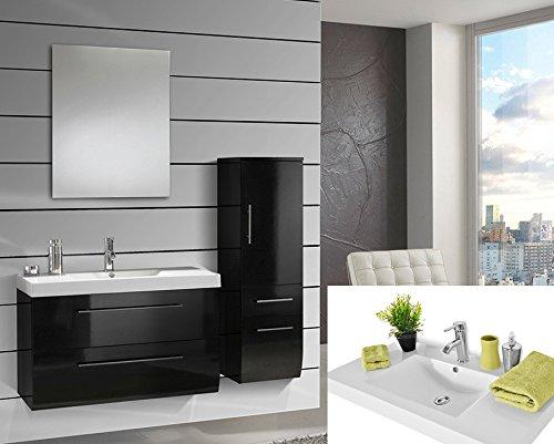 #SAM® Design Badmöbel-Set Zürich light, 90 cm, in Hochglanz schwarz, 3tlg. Designer Badezimmer mit Softclose-Funktion, 1 Waschplatz mit Mineralgussbecken, 1 Spiegel und 1 Hochschrank#