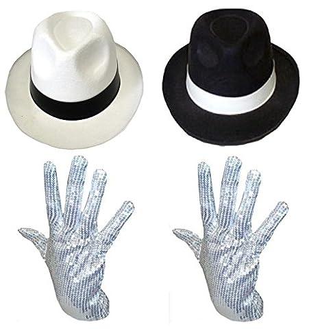 Costumes Al Capone - MICHAEL JACKSON CHAPEAU & GANTS SEQUIN DÉGUISEMENT