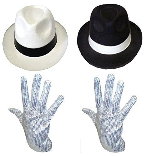 MICHAEL JACKSON HUT & PAILLETTE HANDSCHUH KOSTÜM GANGSTER AL CAPONE UNISEX - Schwarzen Hut & Paillette Handschuh, One Size