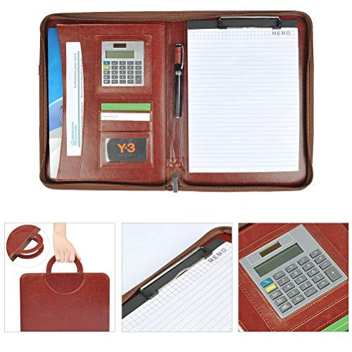 YOTINO Carpeta Portafolios de piel A4 con cremallera y iPad, MacBook Air compartimentos – Elegante De Conferencias, color marrón documentos carpeta – Business Organizador de piel sintética