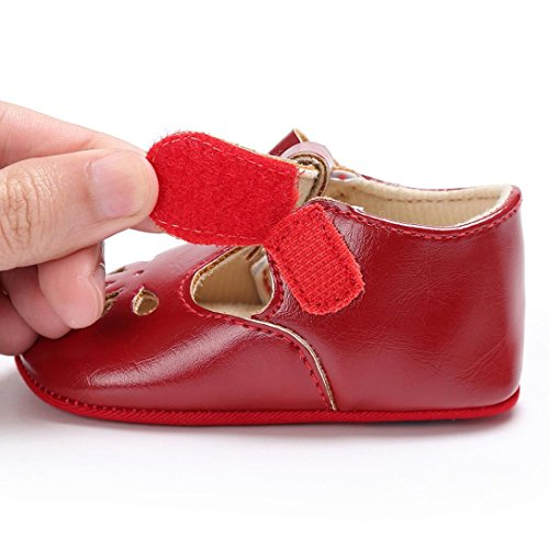 UK:1.5//0~6 Month, Red Switchali Baby Girl Bowknot pu Leather Shoes Sneaker Anti-slip Soft Sole Toddler Shoes