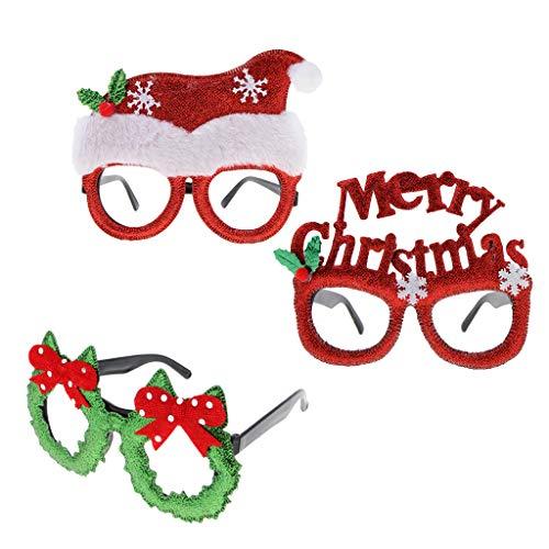 FLAMEER 3X Frohe Weihnachten Weihnachtsmütze Sonnenbrille Neuheit Xmas Brille Party Eyewear (Schneeflocke Kostüm Für Erwachsene)