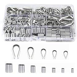 TooTaci 265 pcs Assortiment de manchons de boucle à sertir en aluminium Cosses de câbles en acier inoxydable 304 pour les cosses de câbles métalliques