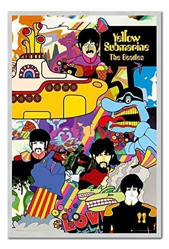 iPosters The Beatles Yellow Submarine Poster Magnettafel silber gerahmt, 96,5x 66cm (ca. 96,5x 66cm) - Beatles Yellow Submarine Magnet