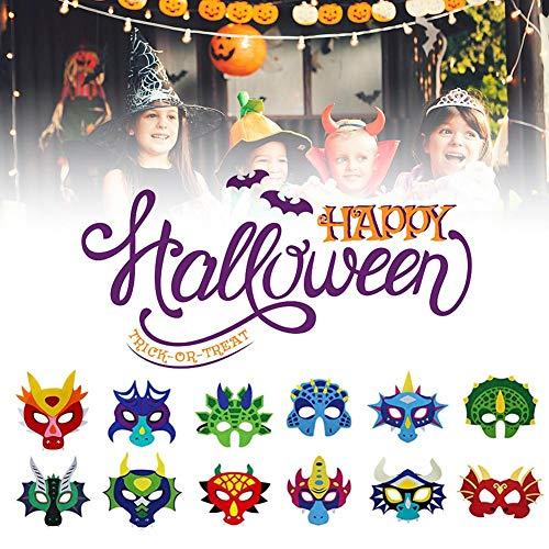 12 Stück Kinder Filz Drachen Masken für Jungen Mädchen Dinosaurier Party Halloween Dress Up Kostüm (Dinosaurier Dress Up Kostüm)