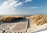 PMP 4life. XXL Poster Nordsee Strand Langeoog | 140x100cm | hochauflösendes Wand-Bild, Natur Poster extra groß, XL Fotoposter | Wand-deko Bild Meer Küste Düne Landschaft