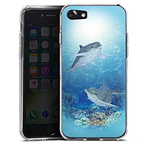 Apple iPhone X Silikon Hülle Case Schutzhülle Happy Dolphins Delfin Meer Silikon Case transparent