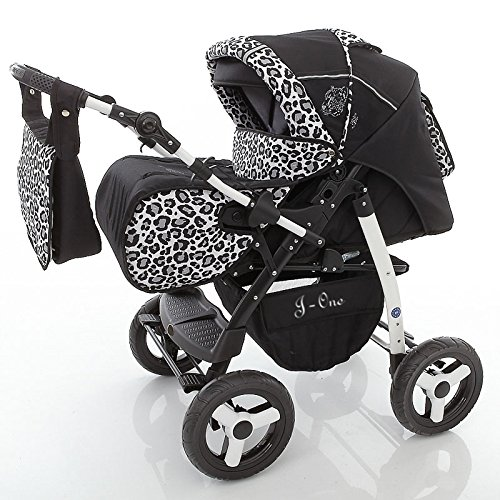 Chilly Kids J1 2 en 1 Cochecito Combinado (cubierta de la lluvia, mosquitero 07 colores) 27 Jaguar & negro
