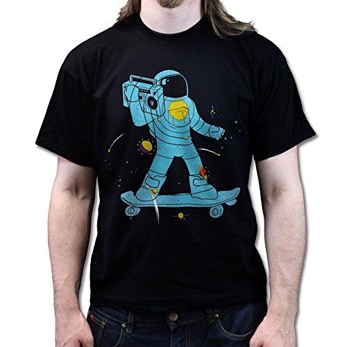 Funkalicious Weltraum Space Astronaut Skateboard T-shirt Schwarz