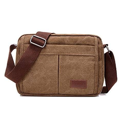 Ultra moderne toile sacoche sac bandoulière rétro sac petit sac bandoulière pour iPad Mini Ultra Léger Randonnée Sac Loisirs Sac à dos, kaki, taille unique