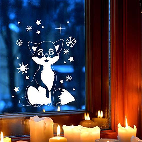 ilka parey wandtattoo-welt Fensterbild Fuchs im Schnee Schneeflocken Sterne Winterlandschaft Fensterdeko Kinderzimmer M-2403 - ausgewählte Größe: *L - 32cm breit x 40cm hoch*