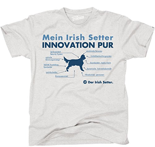 Siviwonder Unisex T-Shirt INNOVATION IRISH SETTER TEILE LISTE Hunde lustig fun Ash