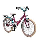 Bikestar Premium Sicherheits Kinderfahrrad 20 Zoll für Mädchen ab 6-7 Jahre ★ 20er Kinderrad Classic ★ Fahrrad für Kinder Berry & Türkis