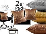 Doppelpack - Wendekissen mit Pailletten und Füllung - Gold + Silber + Kupfer + ca. 45 x 45 cm, silber