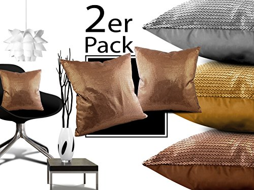 Doppelpack Kissenhüllen mit Pailletten - Gold oder Silber oder Kupfer - ca. 45 x 45 cm - exklusive Wendekissenhülle, Kissenhülle mit Pailletten in kupfer