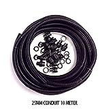 Schwarz Elektrorohr 25mm 10Meter PVC-Rohr Contractor & 10Drüsen locknuts
