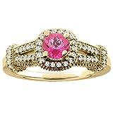 14ct oro amarillo Natural color topacio Redondo anillo de compromiso con Halo de 5 diamantes, de tallas J - T