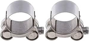 Homyl 2 Stücke 26 28mm Abgasrohrschelle Edelstahl Gelenkbolzenschelle Auspuff Schelle Auspuffschelle Rohrschelle Für Motorrad Auto