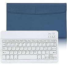 CoastaCloud-QWERTY Español Teclado Bluetooth 3.0 Compatible Cualquier Windows / Android / IOS - phone ,Tablet Apple iPad ,Samsung Galaxy Tab ,Google Nexus ,Amazon Fire ,Microsoft ,El caso que puede soportar menos de 10,6 pulgadas Tablet (Por favor nota que este caso no podría envolver su tableta, que sólo envolver el teclado y dar a la posición de pie)Azul Oscuro