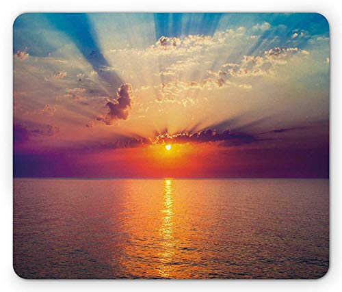 WYICPLO Ocean Mouse Pad, Majestic Sunrise in Tranquil Sea Horizon Dawn Rays Clouds Water Reflection, Standard Size Rectangle Non-Slip Rubber Mousepad, Orange Purple Blue