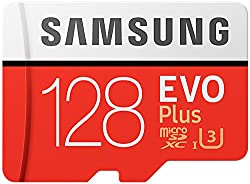 Samsung 128 GB 100 MB/s Class 10 U3 Memory Evo Plus MicroSD card with Adapter - Amazon Exclusive Packaging