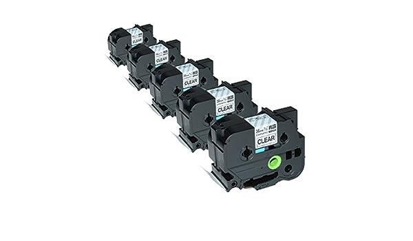 5 Schriftbänder kompatibel zu Brother P-Touch TZE-161 8m//36mm Schwarz auf Klar