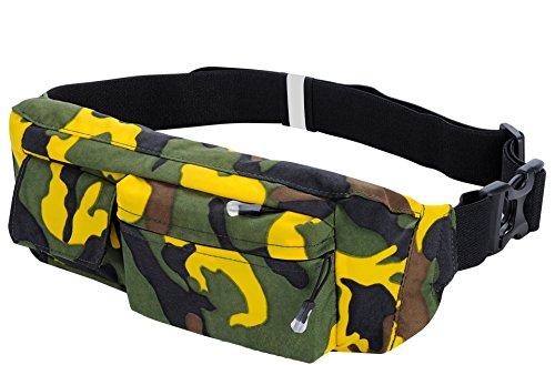 Preisvergleich Produktbild Jogging Gürtel, Life&Tech Camouflage Neopren Wasserdicht Hüfttasche Laufgürtel - Perfekt für Workouts, Fitness, Training, Sport, Fitnessstudio Dehnbares Hüftband.(Gelb Camouflage, 6 Zoll)
