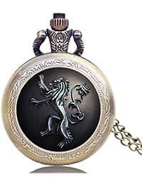 Reloj de Bolsillo para Hombre, diseño de Game of Thrones US TV Series House Lannister, Color Bronce, Estilo Vintage, Reloj de Bolsillo clásico, Colgante de Bolsillo, Regalo para Hombres