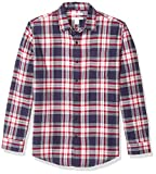 Amazon Essentials - Camicia da uomo, a maniche lunghe, vestibilità standard, a quadri, in flanella, Rosso (Red/White/Blue Plaid), US S (EU S)