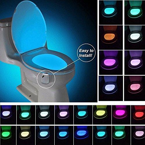 WC Nachtlicht, niceEshop (TM) 24 Colors Farben Bewegungs-und Licht Sensor WC-Schüssel Lichter Scheinwerfer batteriebetriebene Toilette LED-Lampe für Bad/Waschraum Dekoration